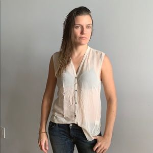 Helmut Lang button up sleeveless blouse